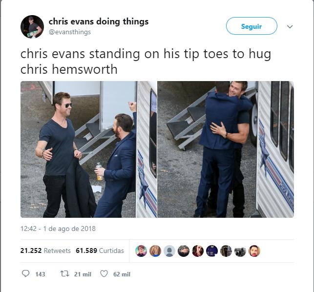 vingadores foto fofa de chris evans e chris hemsworth v - Vingadores: foto fofa de Chris Evans e Chris Hemsworth viraliza