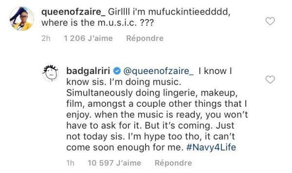 rihanna instagram print - Rihanna responde seguidora sobre seu novo álbum!
